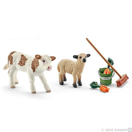 Schleich 41422 Péče o stáj, tele a ovečka