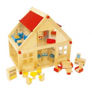 Dřevěný domeček pro panenky s nábytkem
