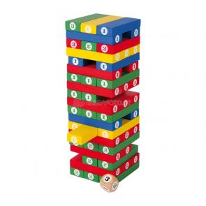 Jenga barevná s čísly  - společenská hra