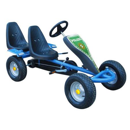 Šlapací autíčko Go-Kart pro dva - POLICIE, modrá